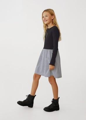 MANGO Organic cotton contrast-bodice dress