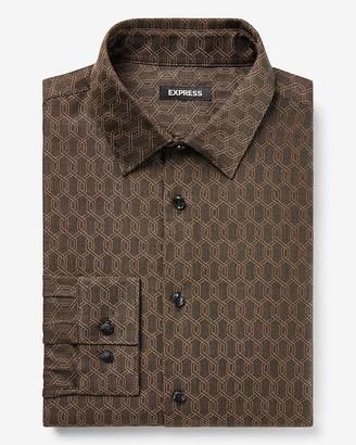 Express Slim Geometric Jacquard Dress Shirt