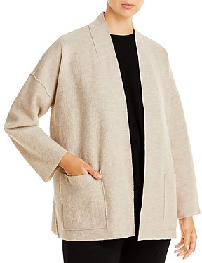 Eileen Fisher High Collar Open Wool Jacket
