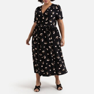 La Redoute Collections Plus Wrapover Maxi Dress in Floral Print with Short Sleeves and Tie-Waist