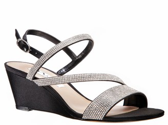 Nina Adjustable Rhinestone Wedge Sandals - Naloni