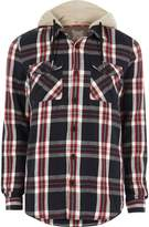 River Island Mens Red check casual hooded shirt