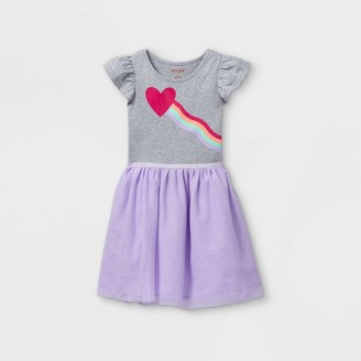 Cat & Jack Girls' Printed Tulle Short Sleeve Dress - Cat & JackTM