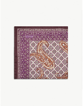 Eton Paisley tile print silk pocket square
