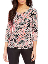 Ruby Rd. Palm Puff Print 3/4 Sleeve Knit Top