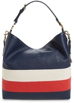 Tory Burch Stripe Duet Leather Hobo - Blue