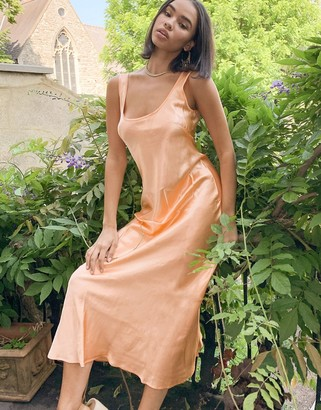 Weekday Noemi satin midi dress in neon apricot