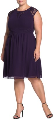 City Chic Dark Romance Lace Trim Dress (Plus Size)