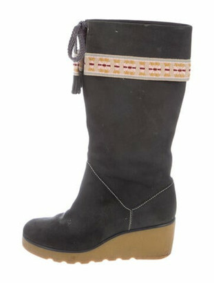 Marc Jacobs Suede Printed Boots Grey
