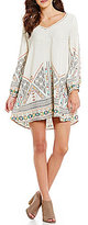 Roxy April Morning Long Sleeve V-Neck Border Print Woven Shift Dress