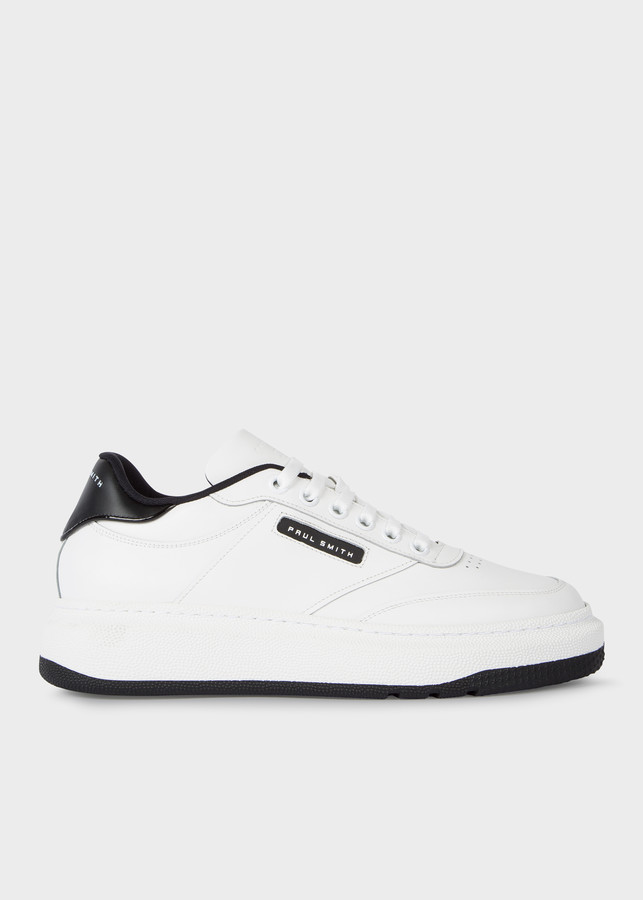 Paul Smith Men's White Calf Leather 'Hackney' Sneakers