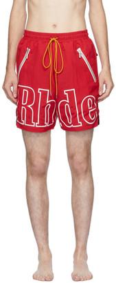 Rhude Red Logo Swim Shorts