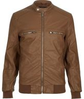 River Island Light Brown Leather-look Bomber Jacket