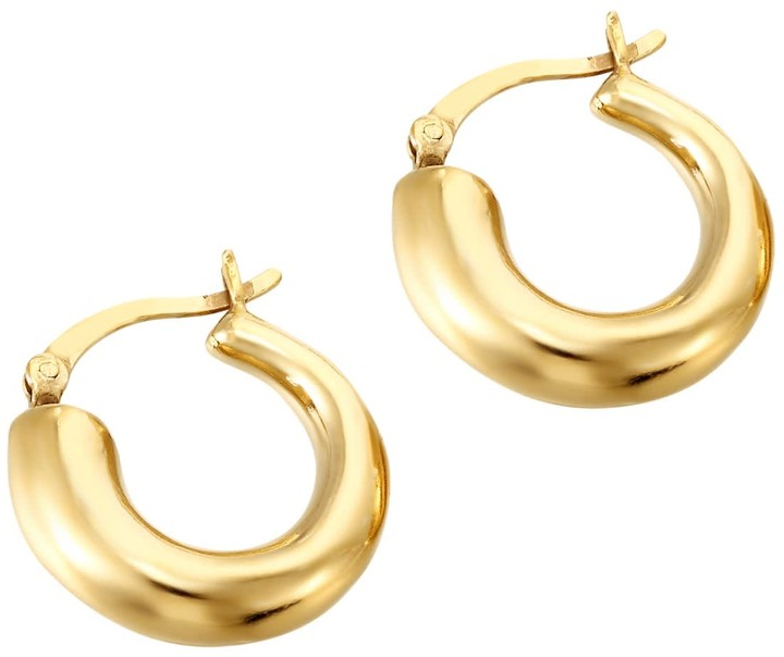 Thumbnail for your product : 22Ct Gold Vermeil Chunky Asymmetric Creole Hoops