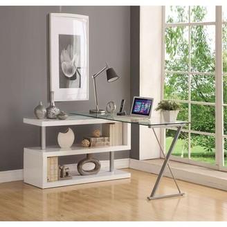 Orren Ellis Clarington Glass L-Shape Desk Color: White
