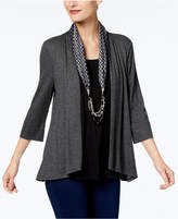 NY Collection Layered-Look Top & Beaded Scarf
