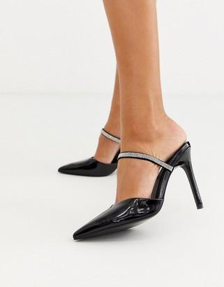 Asos Design DESIGN Power Up diamante high heeled mules in black patent