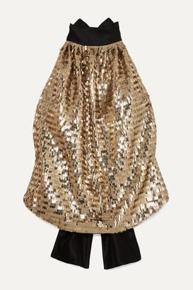 Harmur Open-back Sequined Silk-satin Halterneck Top