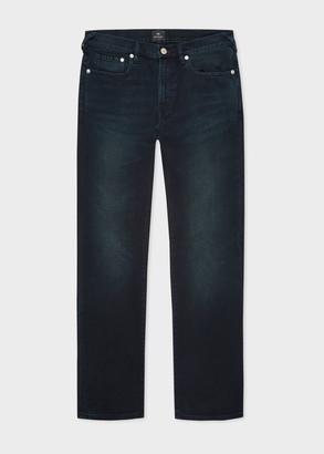 Paul Smith Men's Slim-Standard Navy-Wash 'Crosshatch Stretch' Jeans