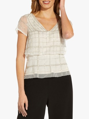 Adrianna Papell Beaded Blouson Top, Ivory/Pearl