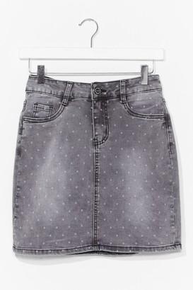 Nasty Gal Womens Polka Dot Denim Mini Skirt - Grey