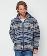 Joe Browns Mens Fair Isle Zip Up Knitted Winter Hoodie