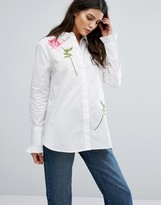 Warehouse Rose Embroidered Shirt