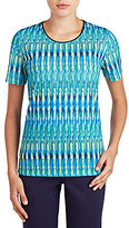 Allison Daley Short Sleeve Biadere Print Knit Top