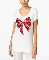 INC International Concepts Sequined Bow Graphic T-Shirt, Only at Macy's