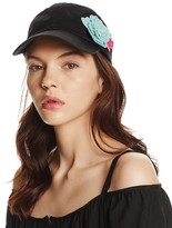 Aqua Cotton Baseball Cap with Sequined Flower Appliqués - 100% Exclusive