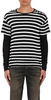 R 13 Men's Striped Cotton-Cashmere Layered T-Shirt-Black Size M
