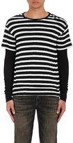 R 13 Men's Striped Cotton-Cashmere Layered T-Shirt