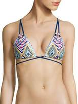 Red Carter Grand Bazaar Woven Detail Triangle Bikini Top