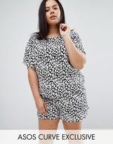 Asos Mono Leopard Print Tshirt & Shorts Pajama Set