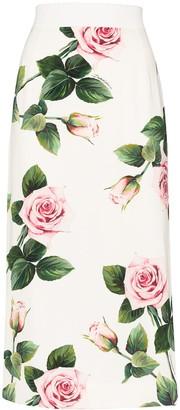 Dolce & Gabbana Charmeuse floral-print midi skirt