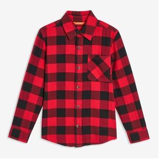 Joe Fresh Kid Boys' Plaid Flannel Shirt, Red (Size L)