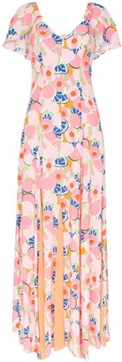 STAUD Peach Blossom abstract print crepe maxi dress