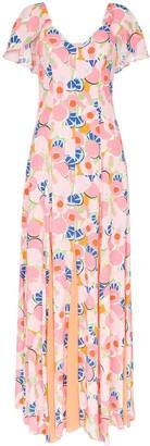 STAUD Peach Blossom abstract print crepe maxi dress
