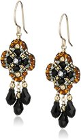 Miguel Ases Jet Clover Swarovski 14k Gold Filled Dangle Earrings