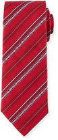 Brioni Zipper-Stripe Printed Silk Tie