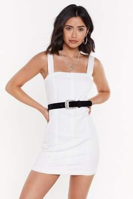Nasty Gal Womens Zip It Please Denim Mini Dress - Cream - 12, Cream
