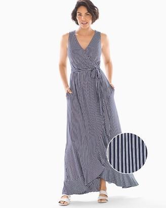 Soft Jersey Ruffle Border Maxi Dress Navy Stripe