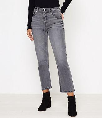 LOFT High Waist Straight Crop Jeans in Silver Grey Wash