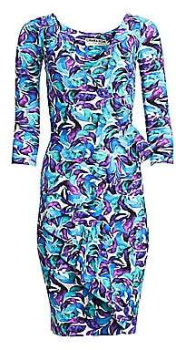Chiara Boni Women's Three-Quarter Sleeve Ruffle Floral Dress