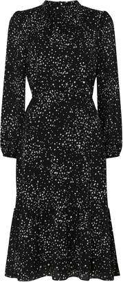 Wallis Black Metallic Star Print Midi Dress