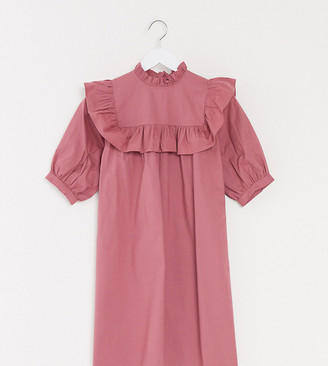 Influence Tall smock dress with frill detail in dusky pink