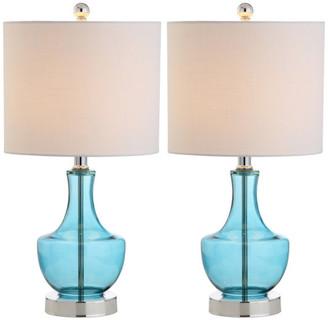 "Jonathan Y Designs Colette 20"" Mini Glass Table Lamp, Amalfi Blue, Set of 2"