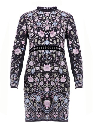 Needle & Thread Floral Whisper Black Embroidered Dress