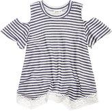 Monteau Striped Cold-Shoulder Shirt, Big Girls (7-16)