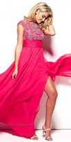 Mac Duggal Beaded Cap Sleeve Chiffon Prom Dress